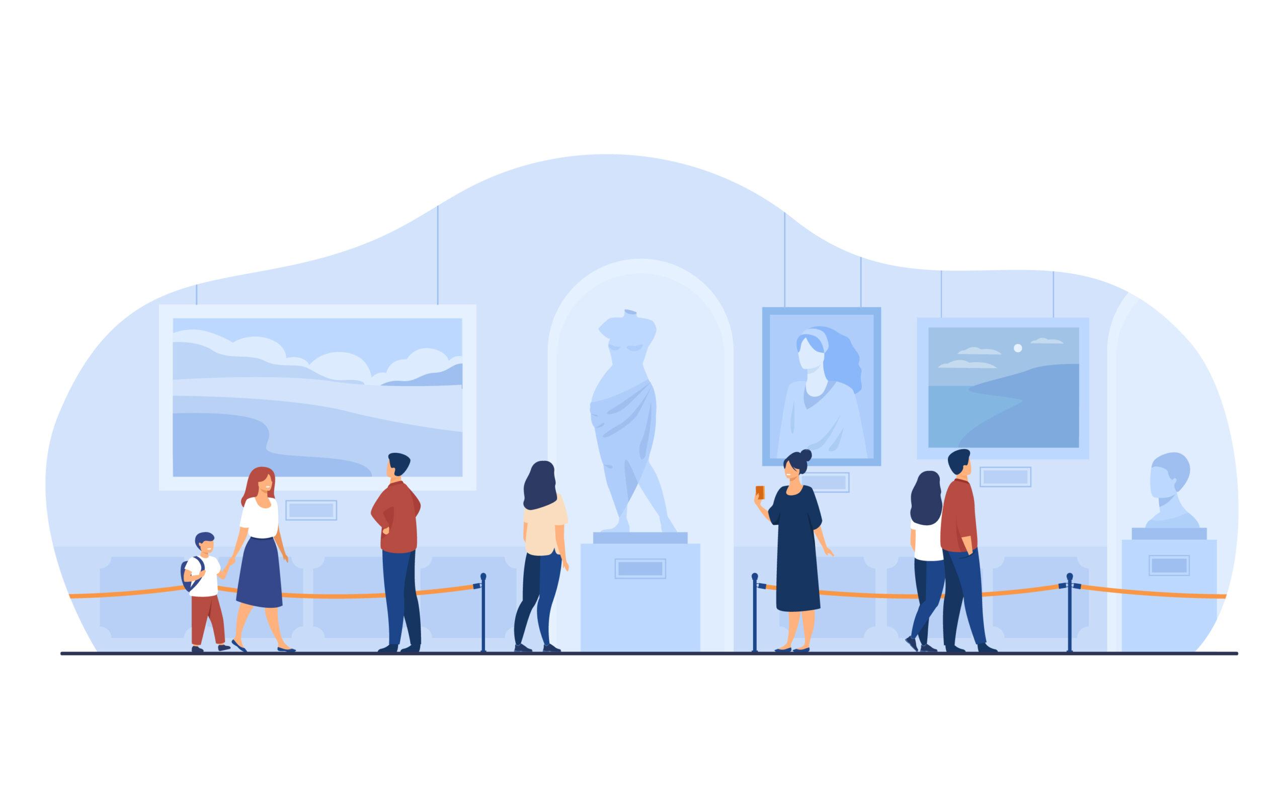 Museum visitors walking in art gallery