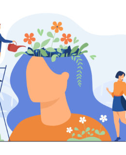 Tiny people and beautiful flower garden inside female head