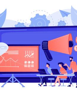 Marketing meetup concept vector illustration.