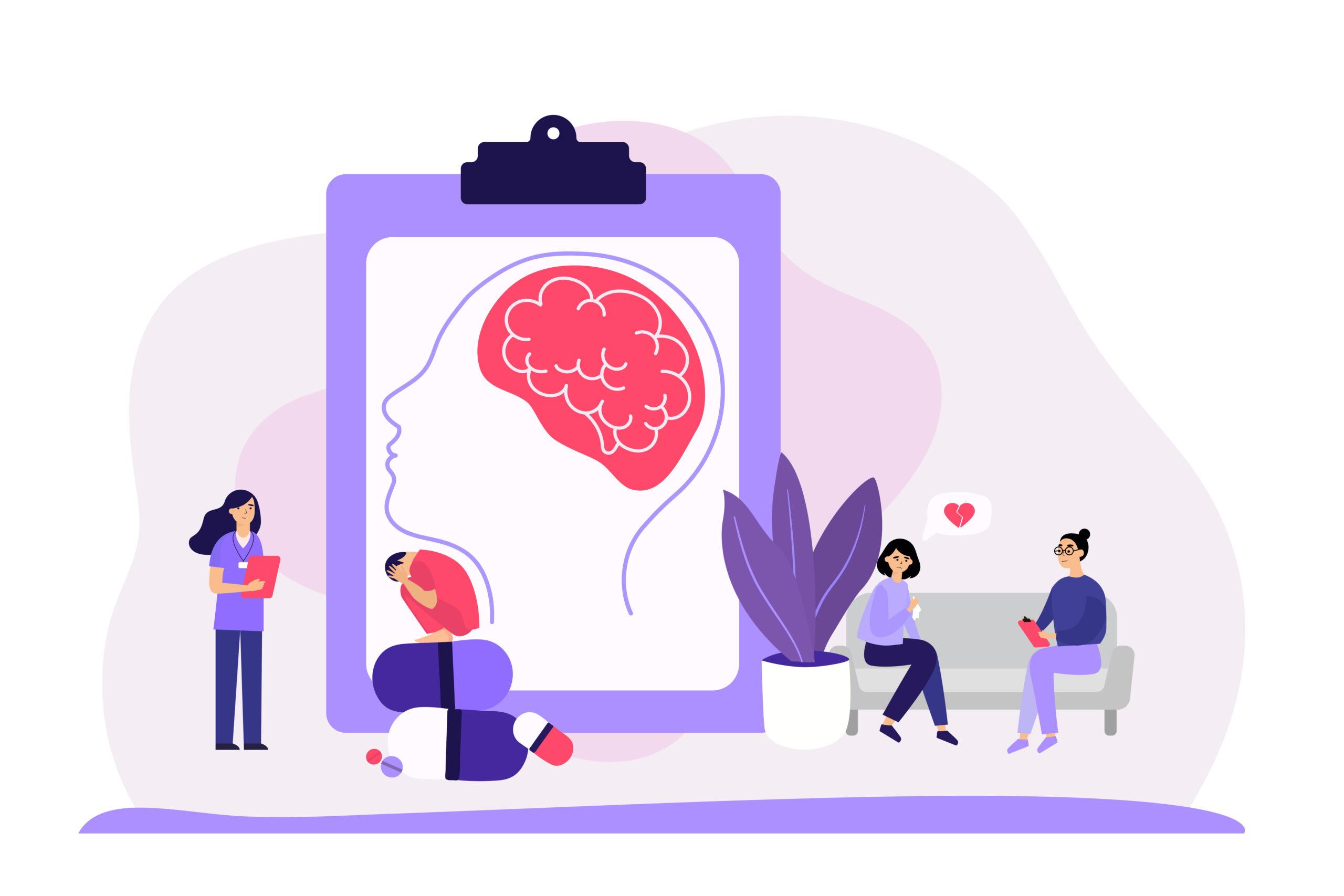 Psychiatrist counseling faceless patients